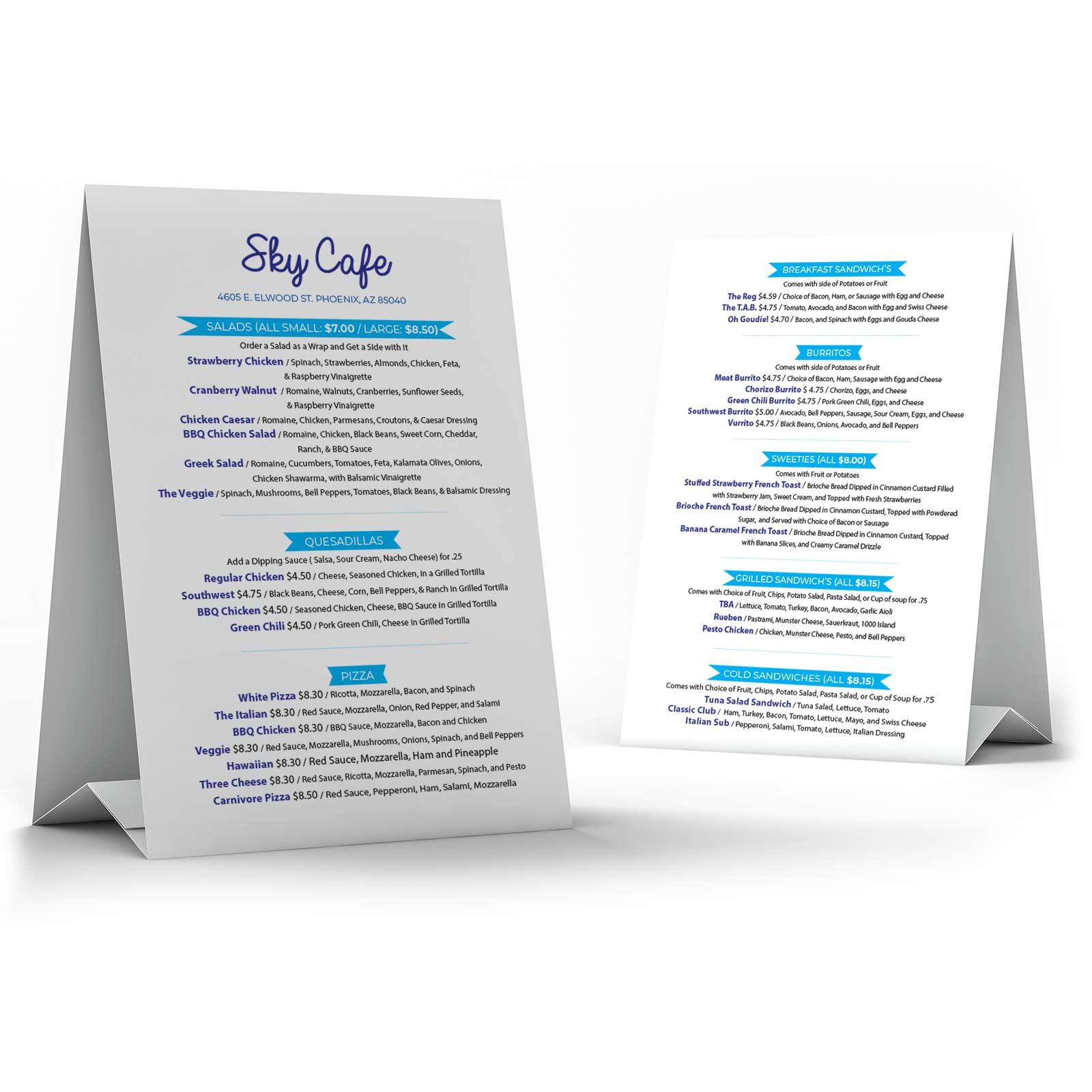 Sky Cafe Menu Design